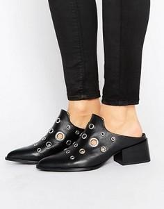 Кожаные туфли на каблуке с люверсами Sol Sana Clarice - Черный