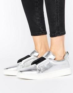 Серебристые кожаные кроссовки-слипоны Sol Sana Mickey - Серебряный