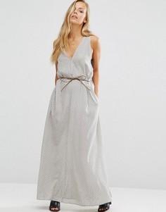 Платье макси с поясом Maison Scotch - Серый