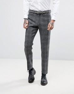 Узкие твидовые брюки в клетку из 100% шерсти ASOS - Серый