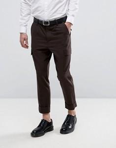 Суженные книзу брюки карго с эффектом шерстяной ткани ASOS - Коричневый