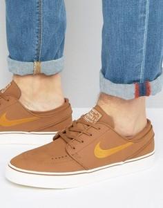 Коричневые кожаные кроссовки Nike SB Zoom Stefan Janoski 616490-271 - Коричневый