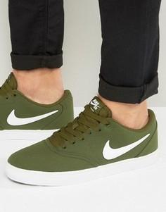 Зеленые парусиновые кроссовки Nike SB Check Solar 843896-311 - Зеленый