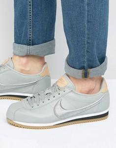 Серые кожаные кроссовки Nike Cortez 861677-003 - Серый