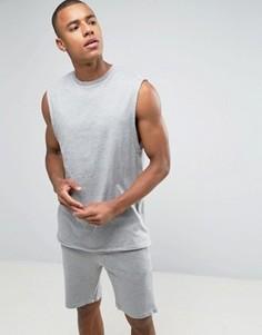 Длинная серая футболка без рукавов и шорты ASOS - Мульти