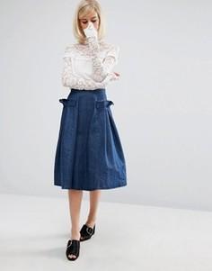 Джинсовая юбка с оборками по бокам Lost Ink - Синий