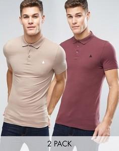2 обтягивающих футболки-поло с логотипом (красная, бежевая) ASOS - СКИДКА - Мульти