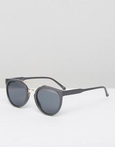 Серые круглые солнцезащитные очки с планкой над переносицей ASOS - Серый