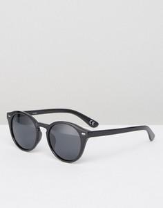 Черные круглые солнцезащитные очки с поляризованными стеклами ASOS - Черный