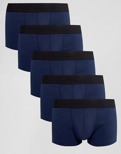 Набор из 5 темно-синих трусов хипстеров в рубчик ASOS - Темно-синий