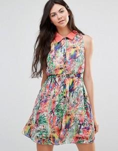 Платье с принтом попугаев Yumi - Мульти