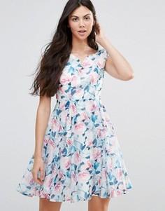 Платье из органзы с принтом роз Yumi - Зеленый