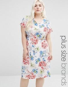 Цельнокройное платье с принтом роз и боковыми разрезами Koko Plus - Белый