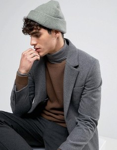 Серая шапка-бини из пряжи с начесом ASOS - Серый