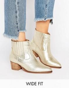 Кожаные ботинки в стиле вестерн для широкой стопы ASOS RANGER - Золотой