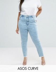 Узкие джинсы в винтажном стиле с необработанным краем ASOS CURVE FARLEIGH - Синий