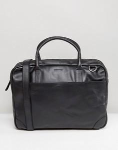 Кожаная сумка для ноутбука с двумя отделением Royal RepubliQ Explorer - Черный