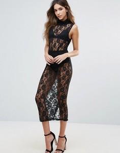 Прозрачное платье с высокой горловиной и короткой подкладкой Unique 21 - Черный
