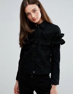Джинсовая куртка с оборкой J Brand x Simone Rocha - Черный