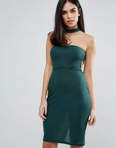 Платье без бретелек с чокером Unique 21 - Зеленый