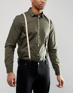 Бежевые кожаные подтяжки в подарочной упаковке ASOS - Бежевый