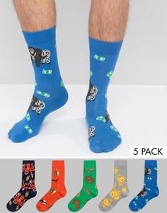 5 пар носков с животными ASOS - Мульти