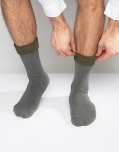 Вязаные тапочки-носки цвета хаки с закатанным верхом ASOS - Серый