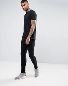 Черная длинная футболка и суперузкие джоггеры ASOS - СКИДКА - Мульти