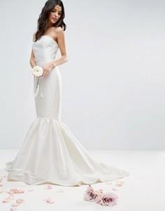 Платье макси с широкой волнистой кромкой ASOS BRIDAL - Белый