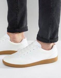 Белые кроссовки из искусственной замши на шнуровке и резиновой подошве ASOS - Белый