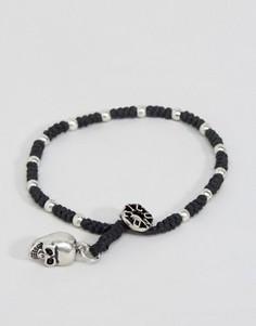 Черный браслет с бусинами и черепом Icon Brand - Черный