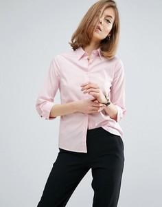 Розовая эластичная хлопковая рубашка с рукавами 3/4 ASOS - Розовый