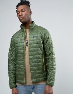 Легкая зеленая дутая куртка Patagonia Nano - Зеленый