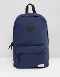 Темно-синий парусиновый рюкзак с основанием из искусственной кожи ASOS - Темно-синий