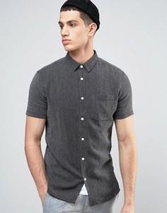 Фактурная трикотажная рубашка классического кроя с короткими рукавами Solid - Черный