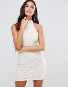 Кружевное платье с высокой горловиной Girl In Mind - Белый