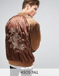 Сувенирная куртка с вышивкой Phoenix ASOS TALL - Коричневый