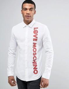 Рубашка узкого кроя с принтом логотипа Love Moschino - Белый