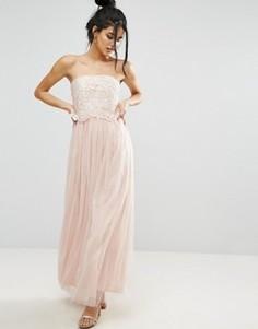 Платье-бандо для выпускного с кружевным лифом Little Mistress - Кремовый