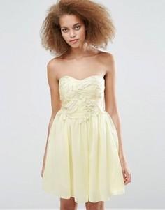 Платье для выпускного с вышивкой Little Mistress - Кремовый
