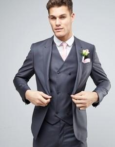 Темно-серый зауженный пиджак из 100% шерсти ASOS WEDDING - Серый
