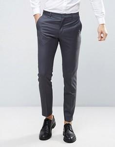 Темно-серые узкие брюки из 100% шерсти ASOS WEDDING - Серый