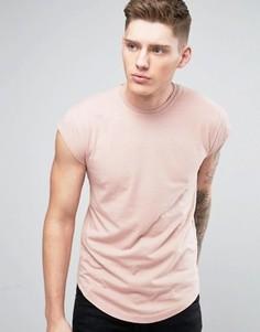 Длинная футболка с асимметричным краем и короткими рукавами Only & Sons - Розовый