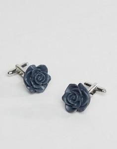 Темно-синие запонки в виде розы ASOS - Темно-синий