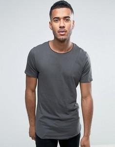 Удлиненная футболка со вставками и закругленным краем Jack & Jones Originals - Черный