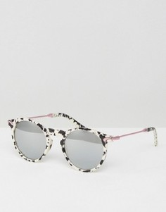 Круглые солнцезащитные очки в стиле 90-х с металлическими дужками и зеркальными линзами ASOS - Черный