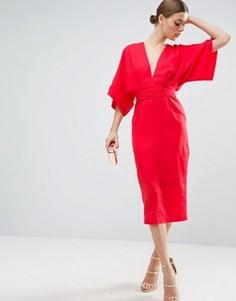 Платье миди в стиле кимоно с глубоким вырезом ASOS - Красный