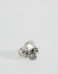 Кольцо-череп из шлифованного серебра ASOS - Серебряный