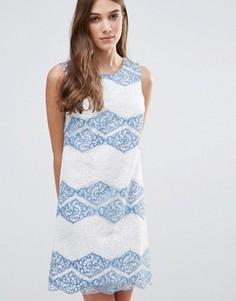 Кружевное цельнокройное платье в полоску Liquorish - Синий