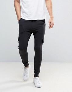 Трикотажные брюки скинни с карманами-карго Only & Sons - Черный